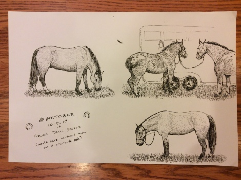 Horses sketched from life in pen-and-ink for #inktober