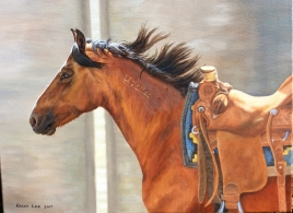 """""""Tommi"""", oil on canvas, winning painting in the 2017 America's Mustang Art Contest. Reference photo courtesy of Luke Castro, the trainer of this mare for the Ft. Worth Extreme Mustang Makeover."""
