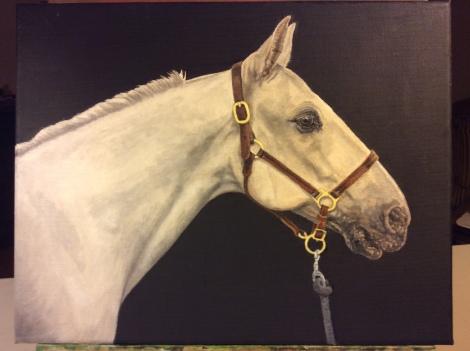 """Work in progress, horse oil portrait of """"Roman"""""""