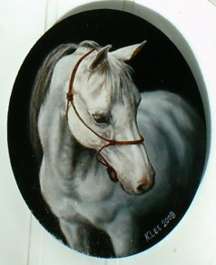 """Phantom"", oil on canvas of Arabian gelding Phantom Fantastic"