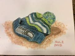 Everyday object, charcoal and watercolor