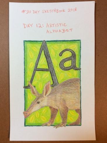 Artistic alphabet, colored pencil